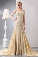 Exclusive Beaded Mermaid Champagne Unique Evening Dress