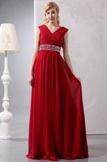 Wine Red V Neckline Floor Length Dress To Evening
