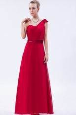 Wine Red One Shoulder Evening Pageant Dress Discount