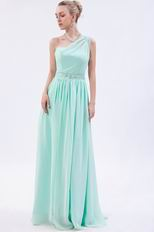Designer One Shoulder Light Green Evening Dress Stars Wear