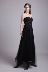 Zip Back Sweetheart Black Net Evening Dress For Cheap