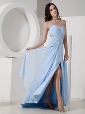 Cheap Light Blue One Shoulder Evening Dresses For Girl