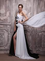Contrast White and Black One Shoulder Night Party Dress