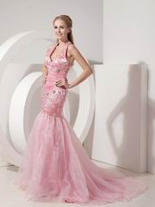 Not Expensive Evening Dress With Halter Mermaid Skirt