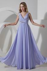 Beautiful V-Neck Empire Lavender Evening Dresses