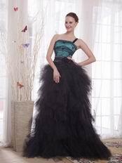 Unique One Shoulder Black Skirt Female Evening Dress