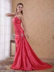 Coral Red Taffeta Dress For 2014 Evening Dress Cheap