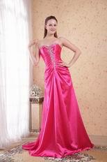 Floor Length Deep Pink Dress For Evening Women Decent