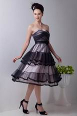 Tea Length Layers Skirt Black Evening Dress With Lace