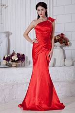 Discount One Shoulder Mermaid Silhouette Scarlet Evening Dress
