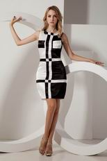 Fashion Scoop Black And White Mini Evening Dress