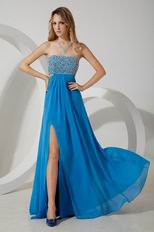 Sexy Beaded Split Skirt Blue Chiffon Evening Dress For Discount