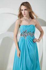 Cheap Strapless Front Split Aqua Evening Dress 2014