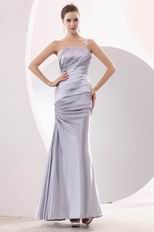 Affordable Left Strap Mermaid Silver Evening Dress