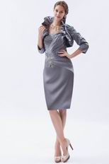 Sweetheart Silver Jr Evening Dress With Long Sleeves Jacket