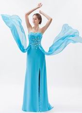 Custom Side Drapped Aqua Evening Dress In New York