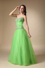 Fresh Spring Green Tulle Evening Dress Discount