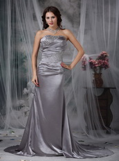 Elastic Wove Satin Grey Formal Evening Dress With Fishtail Night Club