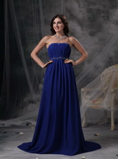 Royal Blue Chiffon Strapless Formal Dress With Beading Night Club
