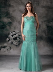 Turquoise Mermaid Corset Back Prom Dress Made By Net Night Club