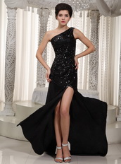 One Shoulder Black Sequin Evening Club Dress For Sexy Lady Night Club