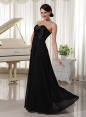 Sweetheart Black Chiffon Skirt For Evening Cocktail Party Night Club