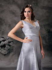 Grey V-neck Floor-length Simple A-line Evening Gowns Dress Night Club
