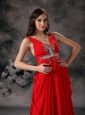 Red Chiffon V-neck Floor-length Night Club Celebrity Dress Night Club