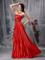 Floor-length Pleated Scarlet Color Formal Dress Suppliers Night Club