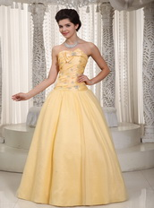 Moon Yellow Taffeta Puffy Prom Dress For Lady Wear Night Club
