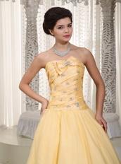 Moon Yellow Taffeta Puffy Prom Dress For Lady Wear Night Club