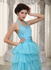 Beaded Aqua Blue Evening Dress With Halter Layers Skirt Night Club