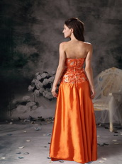 Orange Red Strapless Sequin Bodice Beading Celebrity Gowns Night Club