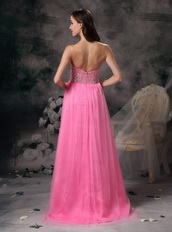 Pink Sweetheart Tulle Party Dress With Beading Emberllish Night Club