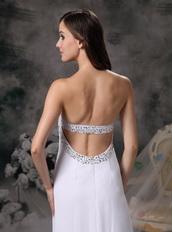 White Empire Sweetheart Chiffon Pageant Prom Dress Night Club
