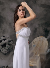 White Empire Sweetheart Chiffon Pageant Prom Dress Night Club