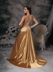 Golden Column Straps Cross Back Evening Dress With Crystals Night Club