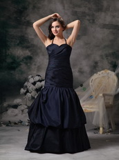 Trumpt Black Halter Floor-length Evening Dress Formal Night Club