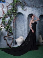 Scoop Watteau Train Black Chiffon Beaded Sexy Formal Night Dress Night Club