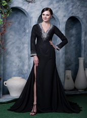 Deep V Black Chiffon Beaded Emberllish Long Sleeves Evening Dress Night Club