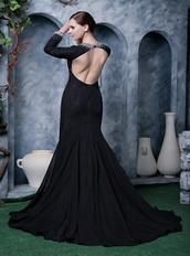 Deep V Black Chiffon Beaded Emberllish Long Sleeves Evening Dress Night Club