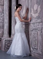 White Mermaid Full Beaded Prom Dress For Celebrity Night Club