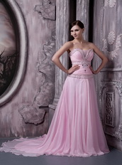 Baby Pink Sweep Train Top Designer Dress For Night Club Wear Night Club