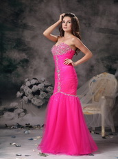 Hot Pink Floor-length Fashion Prom Dresses Mermaid Night Club