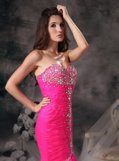 Hot Pink Floor-length Fashion Prom Dresses Mermaid Night Club