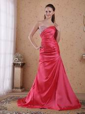 Coral Red Taffeta Dress For 2014 Evening Dress Cheap