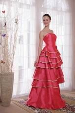Deep Pink Layers Skirt With Bordure Prom Dress Cheap