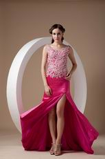 Fuchsia Appliqued Bodice Backless Prom Dress With Side Split