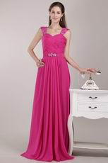 Beaded Wide Straps Deep Pink Chiffon Skirt Pageant Dress