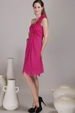 Deep Rose One Shoulder With Hand Flowers Bridesmaid Dress